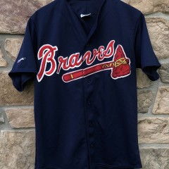 90's Atlanta Braves Majestic Navy Blue MLB Jersey size medium