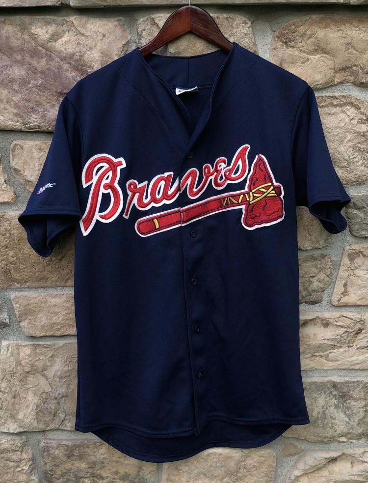 90 s Atlanta Braves Navy Blue Majestic MLB Jersey Size Medium  e8fac743b