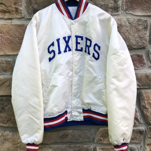 90's Philadelphia Sixers #34 charles barkley white custom starter satin bomber jacket size large