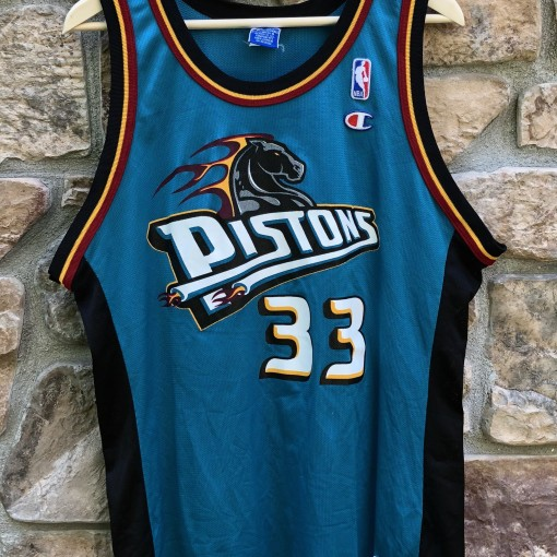 90's Detroit Pistons Grant Hill Champion NBA jersey size 44 large teal aqua horse