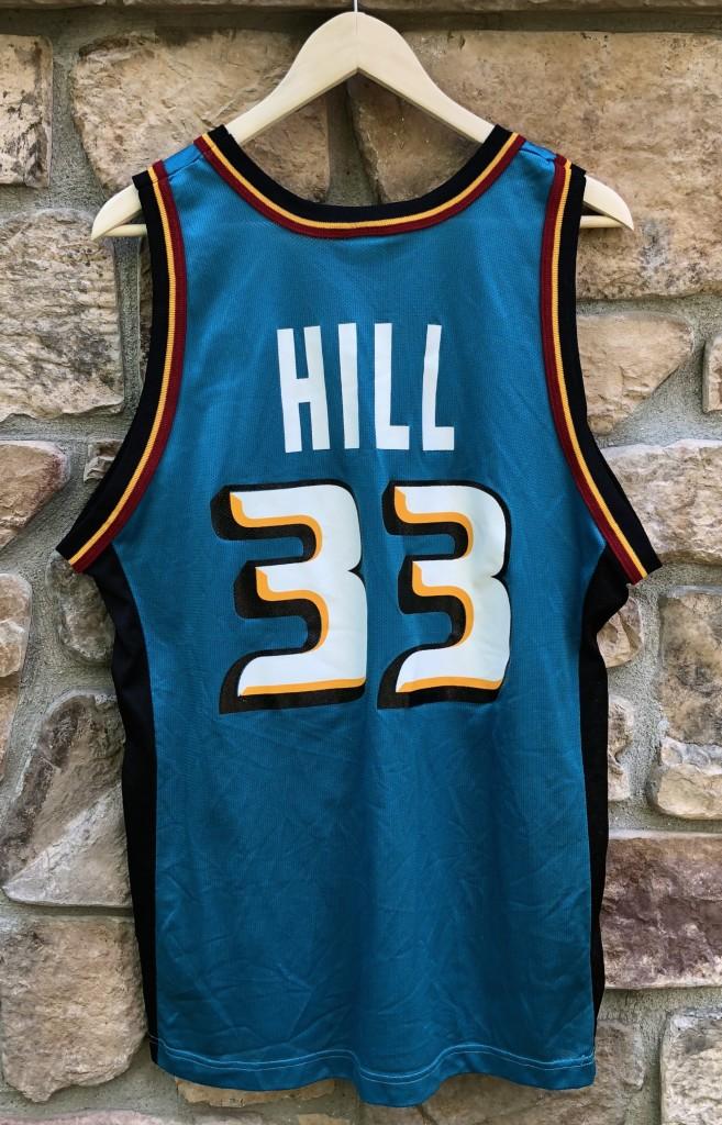 ac5a782b4ca 90's Detroit Pistons Grant Hill Champion NBA jersey size 44 large teal aqua  horse