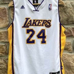 2008 Los Angeles Lakers Kobe Bryant Adidas Swingman NBA jersey white alternate youth size Xl