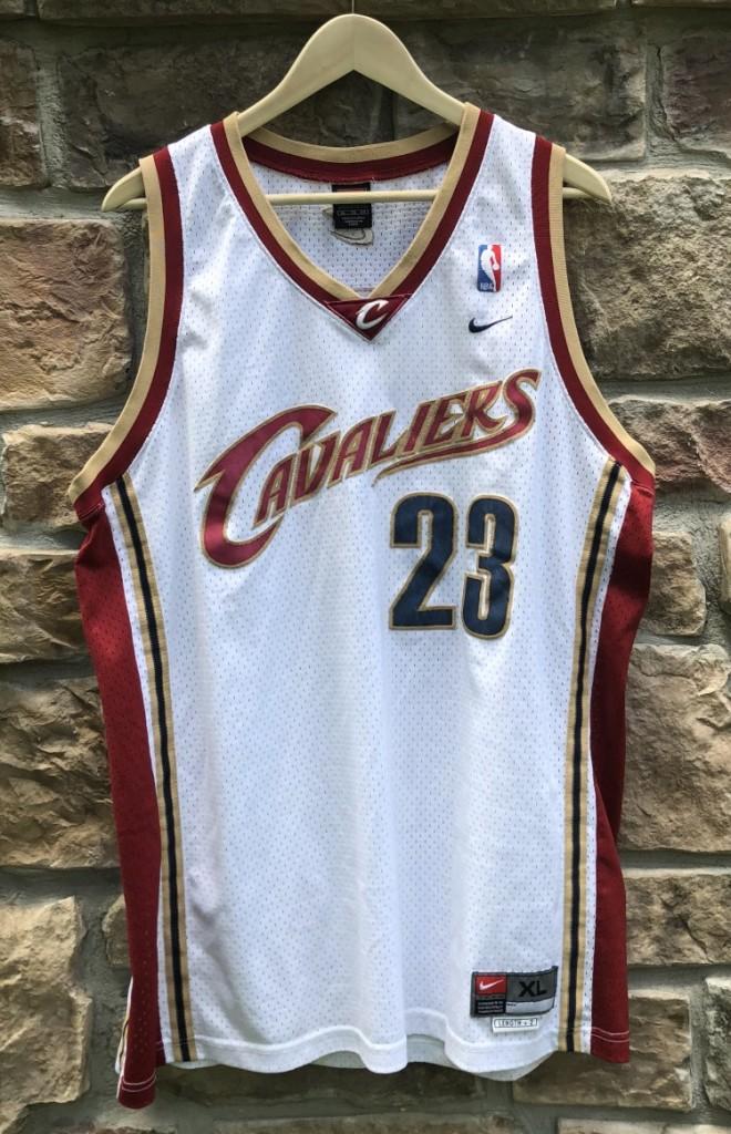 online store 5771f 360b5 2003 LeBron James Cleveland Cavaliers White Nike NBA Swingman Jersey Size XL