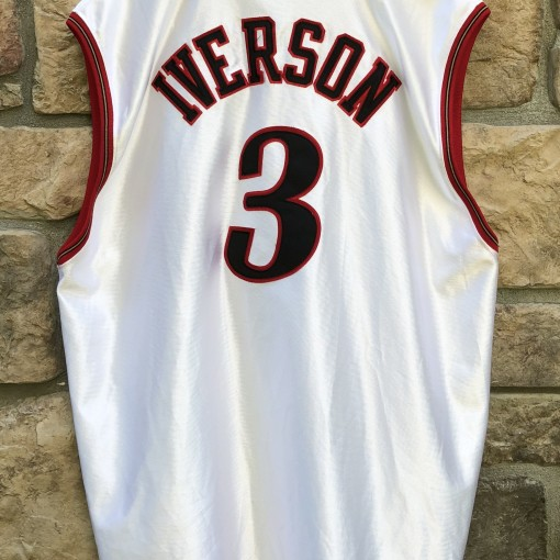 2001 Philadelphia Sixers Allen Iverson Authentic Champion NBA Jersey size 52 XXL