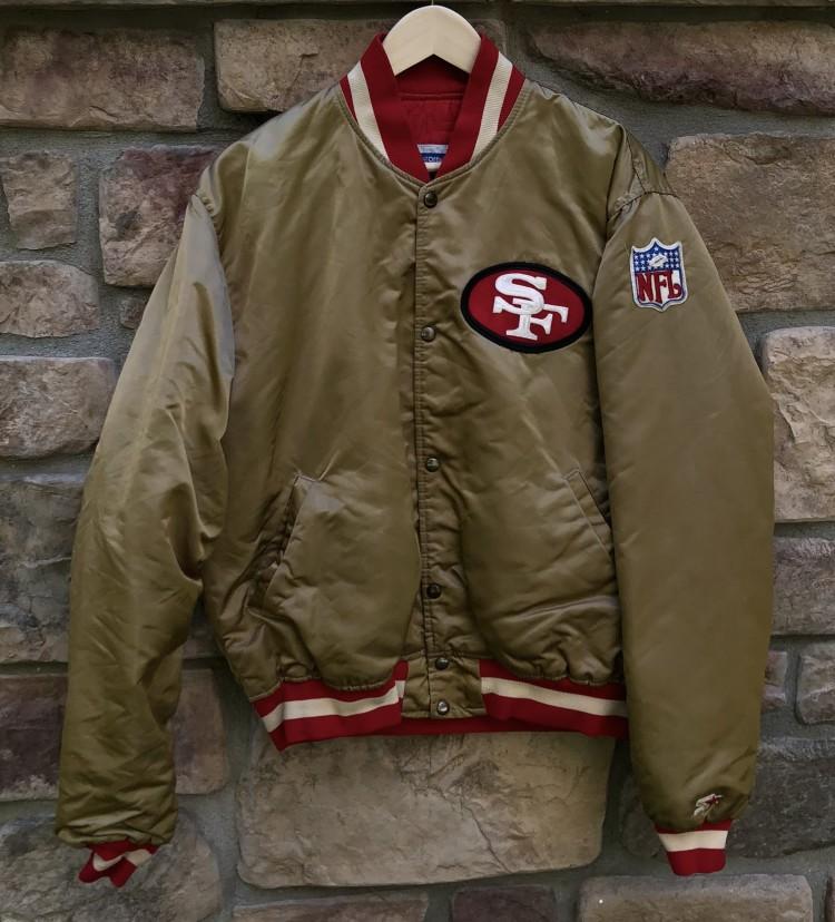 a12c8d0e4 90 s San Francisco 49ers Starter Gold Satin NFL Jacket Size Large ...