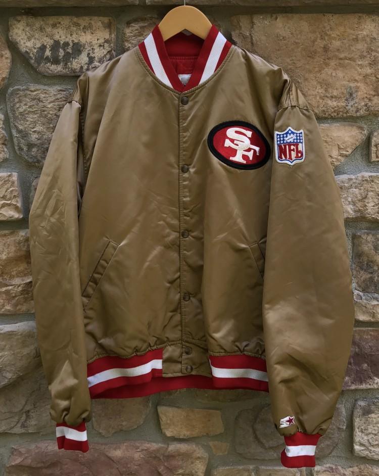 d39f83ae 90's San Francisco 49ers Starter Gold Satin NFL Jacket Size XL