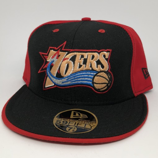 vintage 90's Philadelphia Sixers 76ers New Era Pinwheel fitted hat size 7 3/8 deadstock