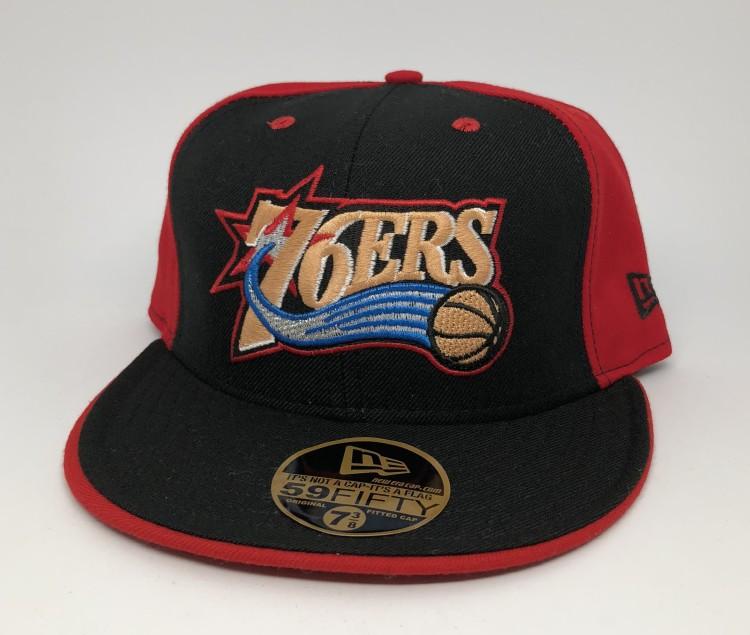 4e4d3d11f09 vintage 90 s Philadelphia Sixers 76ers New Era Pinwheel fitted hat size 7  3 8 deadstock