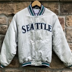 90's Seattle Mariners Starter silver satin vintage MLB jacket