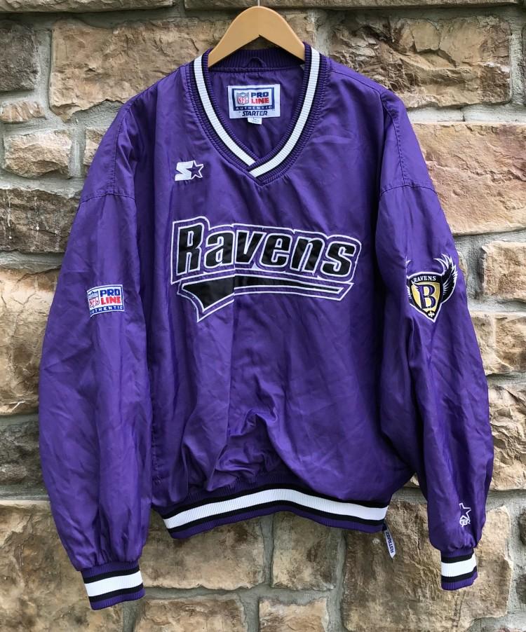 wholesale dealer b08a6 d3c07 90's Baltimore Ravens Starter Pro Line NFL Windbreaker Jacket Size Large