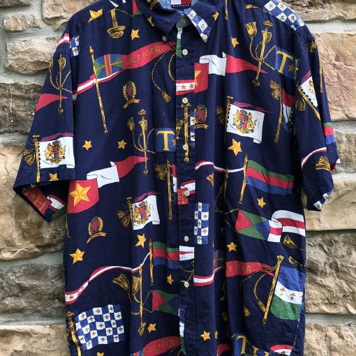 90's Tommy Hilfiger Nautical flags short sleeve button up shirt size XL vintage