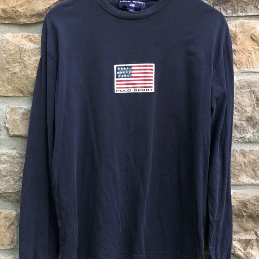 vintage 90's Polo Ralph Lauren Polo Sport USA flag long sleeved t shirt size medium