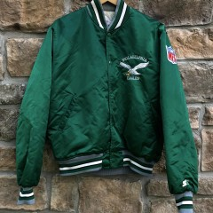 90's Philadelphia Eagles vintage starter satin bomber varsity jacket size large kelly green