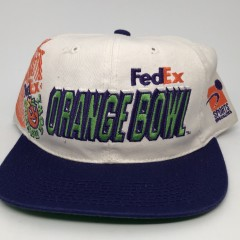 90's vintage Fed Ex Orange Bowl NCAA snapback hat OG Laser dome Sports Specialties