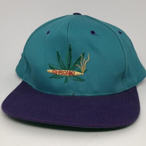 90's Chronic Weed leaf vintage og snapback hat aqua purple