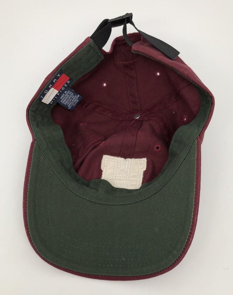 2c8fbcc28 90's Tommy Hilfiger Maroon H Strapback Hat | Rare Vntg