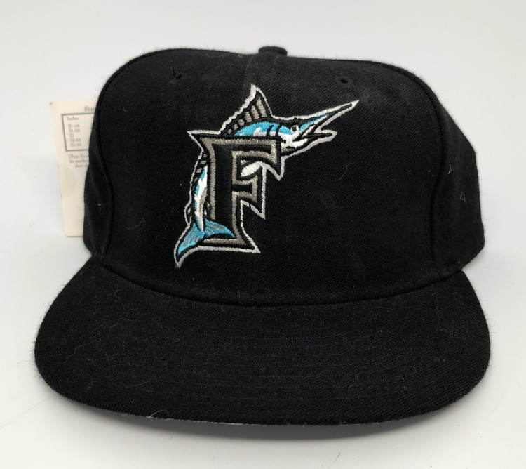 90 s Florida Marlins New Era authentic diamond collection vintage MLB fitted  hat black alternate size 7 e5d6dba28423