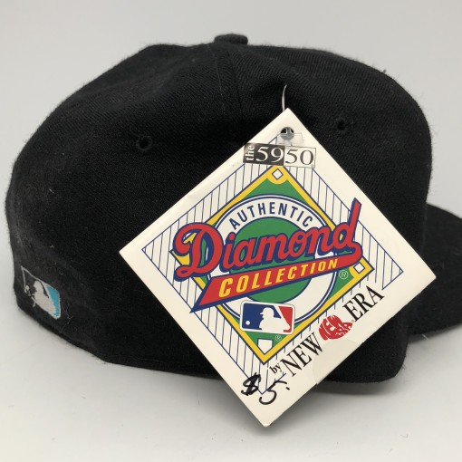 90's Florida Marlins New Era authentic diamond collection vintage MLB fitted hat black alternate size 7 3/8