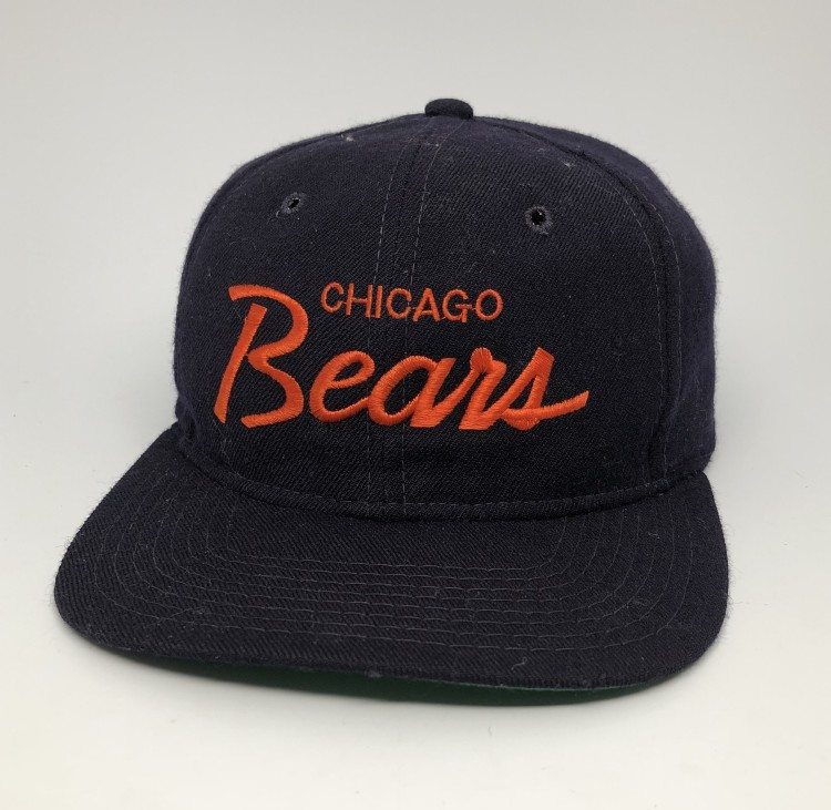 6187566e 80's Chicago Bears NFLSports Specialties Script Snapback Hat
