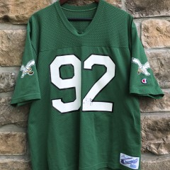 80's vintage kelly green philadelphia eagles reggie white champion nfl jersey size large