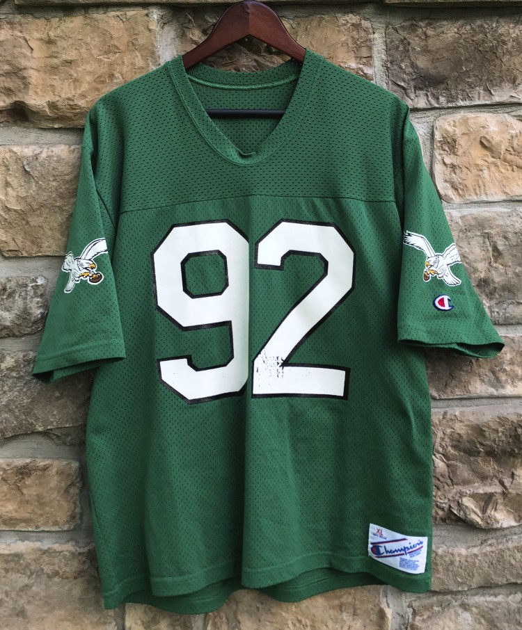 80 s vintage kelly green philadelphia eagles reggie white champion nfl  jersey size large c7b2e531b