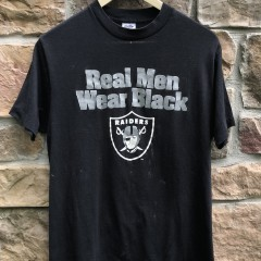 vintage 80's Los Angeles Raiders Real men wear black trench NFL t shirt