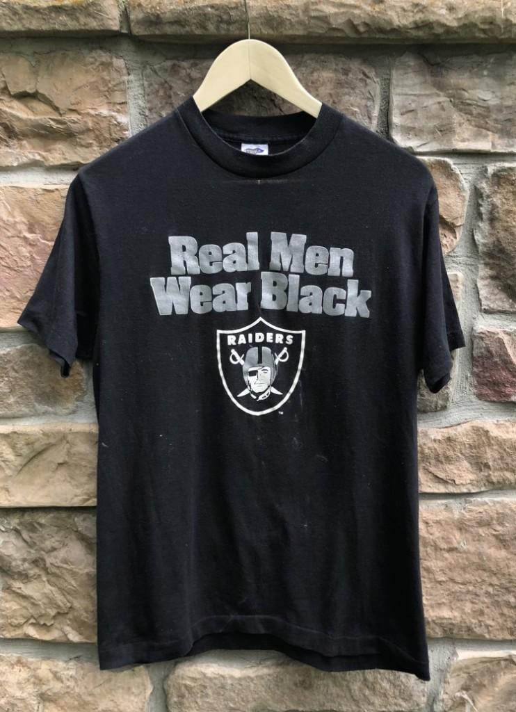 ebea9405 80's Los Angeles Raiders Real Men Wear Black NFL T-Shirt