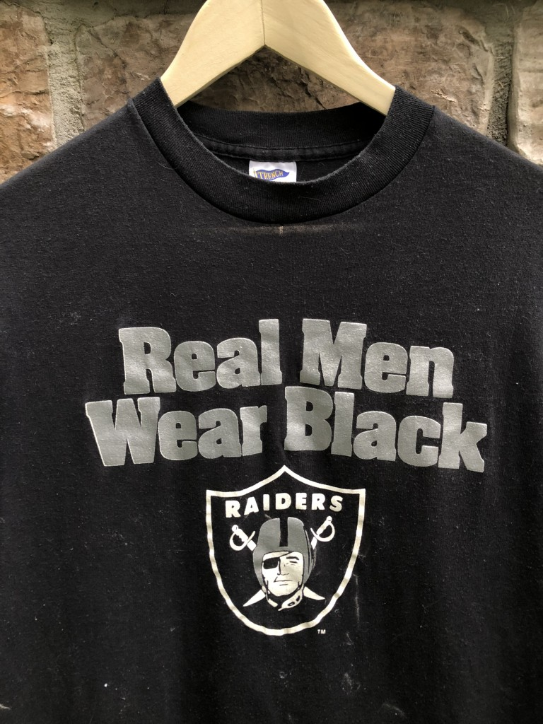 vintage 80 s Los Angeles Raiders Real men wear black trench NFL t shirt 93f1c0df4