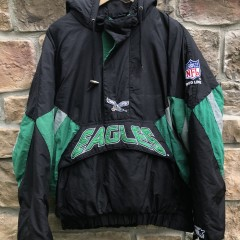 vintage 90's Philadelphia Eagles Starter Heavyweight kelly green pullover pouch jacket size large