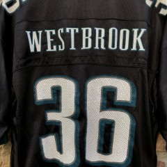 Vintage 2004 Brian Westbrook Philadelphia eagles Reebok Black NFL alternate jersey size large