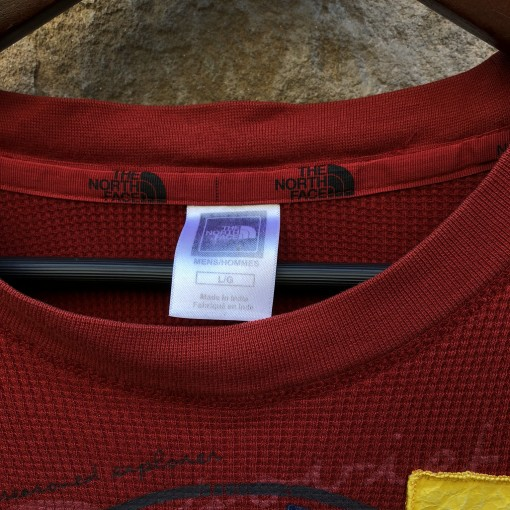 1990 The North Face Trans Antarctica Thermal Waffle Shirt Red