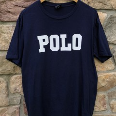 vintage 90's Polo Ralph Lauren Spell Out T Shirt large navy blue