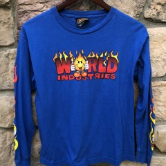 vintage 90's World Industries skate t shirt youth size large long sleeve  90's World Industries skate t shirt youth size medium long sleeve