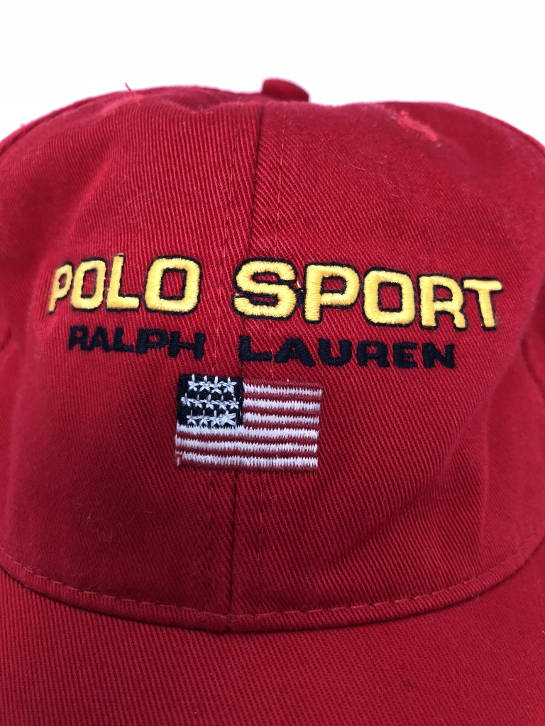 333ee3cc 90's Polo Sport Classic Logo 6 Panel Hat Red Yellow | Rare Vntg