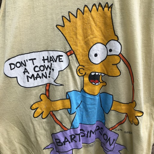 vintage 1990 Bart Simpson The Simpsons tank top size XL yellow dont have a cow man