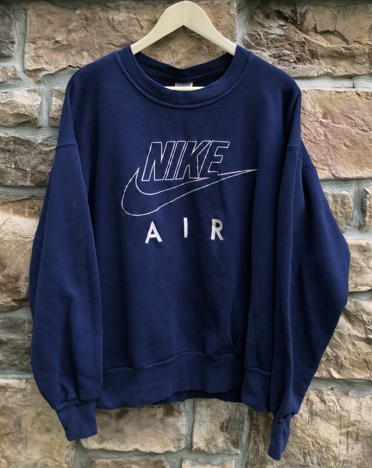 4cddf800 vintage early 90's Nike Air Crewneck Sweatshirt size Large Navy blue