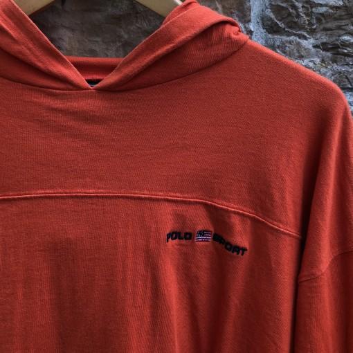 vintage 90's Polo Ralph Lauren Sport orange hooded shirt size large