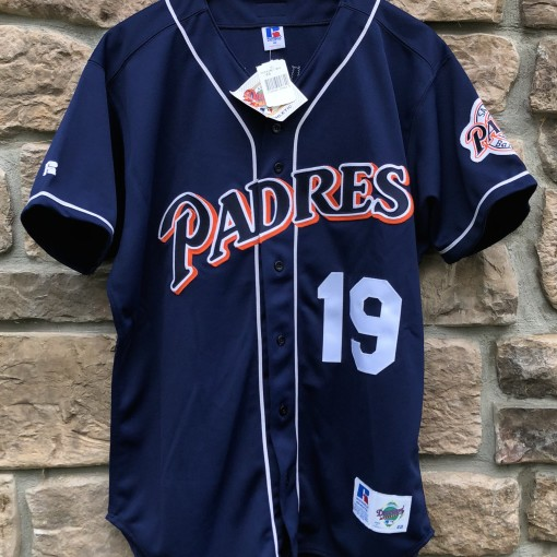 vintage 2001 Tony Gwynn San Diego Padres Authentic Russell MLB Jersey size 48 navy blue deadstock