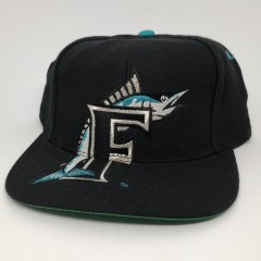 vintage 90's Florida Marlins big logo MLB snapback hat deadstock