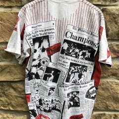 vintage 90's Philadelphia Phillies world series champs all over print news paper t shirt size large