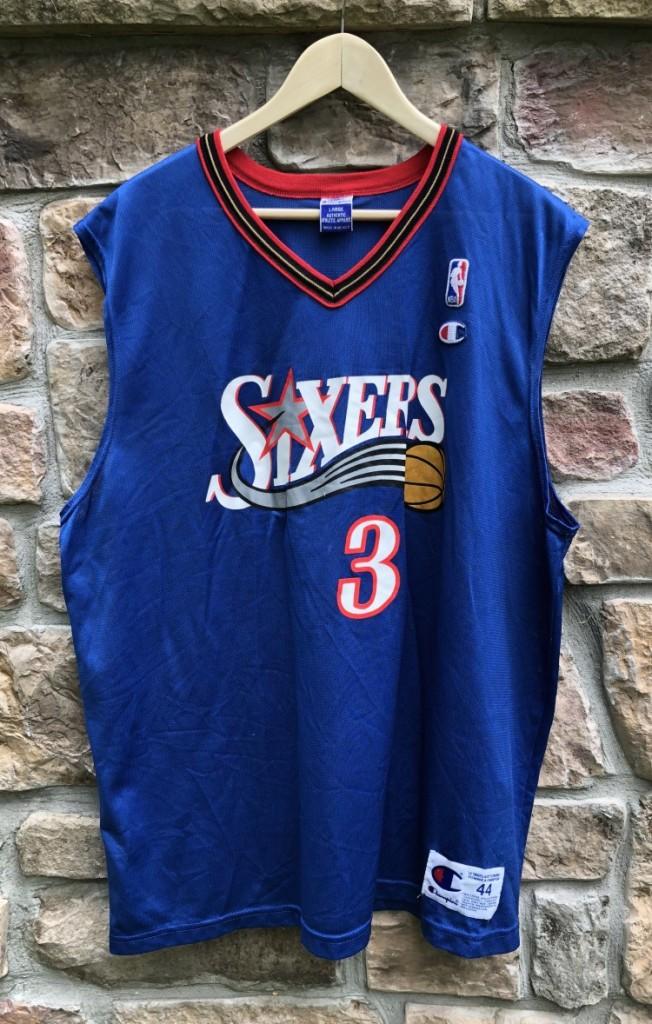new product fd3d4 9101d 2001 Allen Iverson Philadelphia Sixers Champion NBA Jersey Size 44