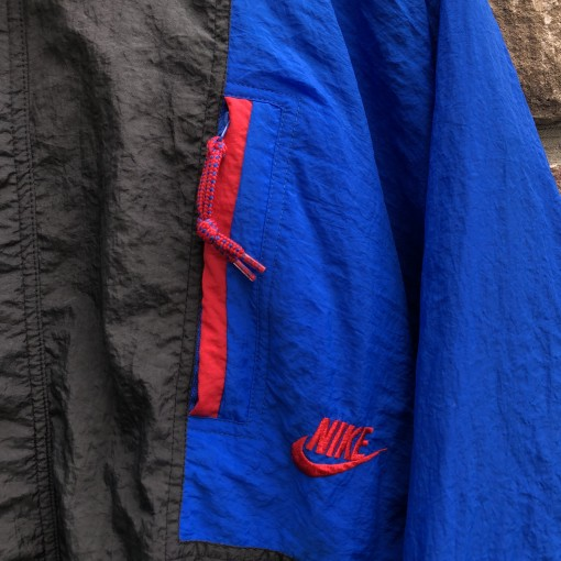 vintage early 90's Nike Cross Training Windbreaker jacket black red blue size large