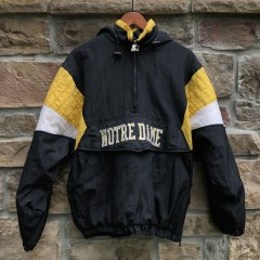 vintage 90's Notre Dame Fighting Irish Starter NCAA pullover pouch jacket black size Medium