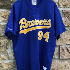vintage 1980 Milwaukee Brewers Game Worn Majestic MLB jersey size XL #94