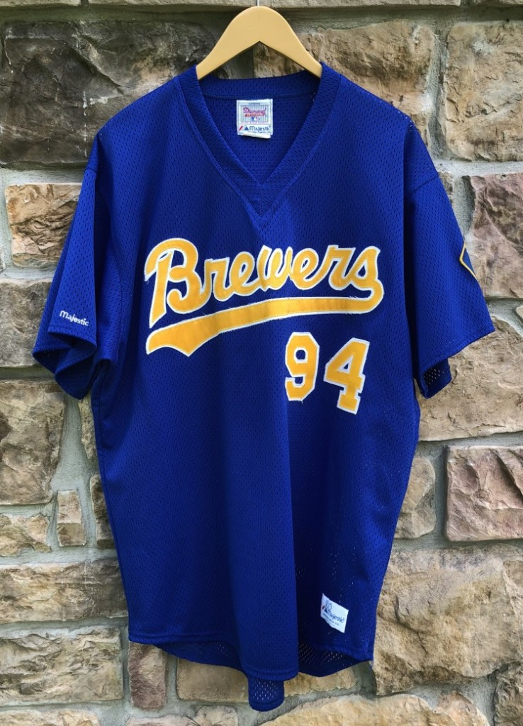 50e9988f4 vintage 1980 Milwaukee Brewers Game Worn Majestic MLB jersey size XL  94