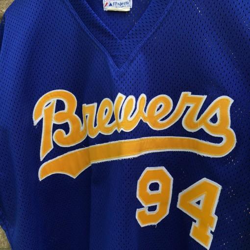 vintage 1980 Milwaukee Brewers Game Worn Majestic MLB jersey size XL #94
