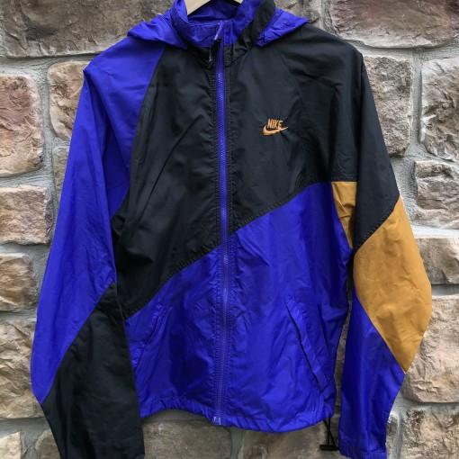 vintage early 90's Nike grey tag windbreaker jacket black purple gold size Large