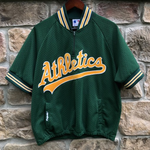 vintage 80's Oakland Athletics A's Authentic Majestic Batting Practice jersey with pockets size large