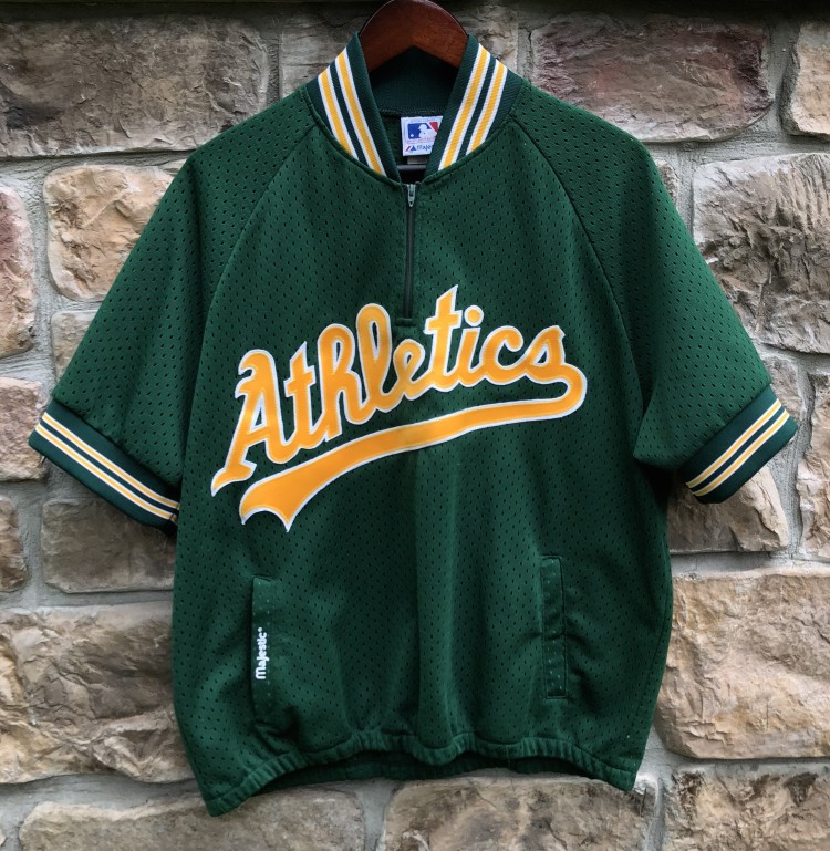 5bf51e6da vintage 80 s Oakland Athletics A s Authentic Majestic Batting Practice  jersey with pockets size large