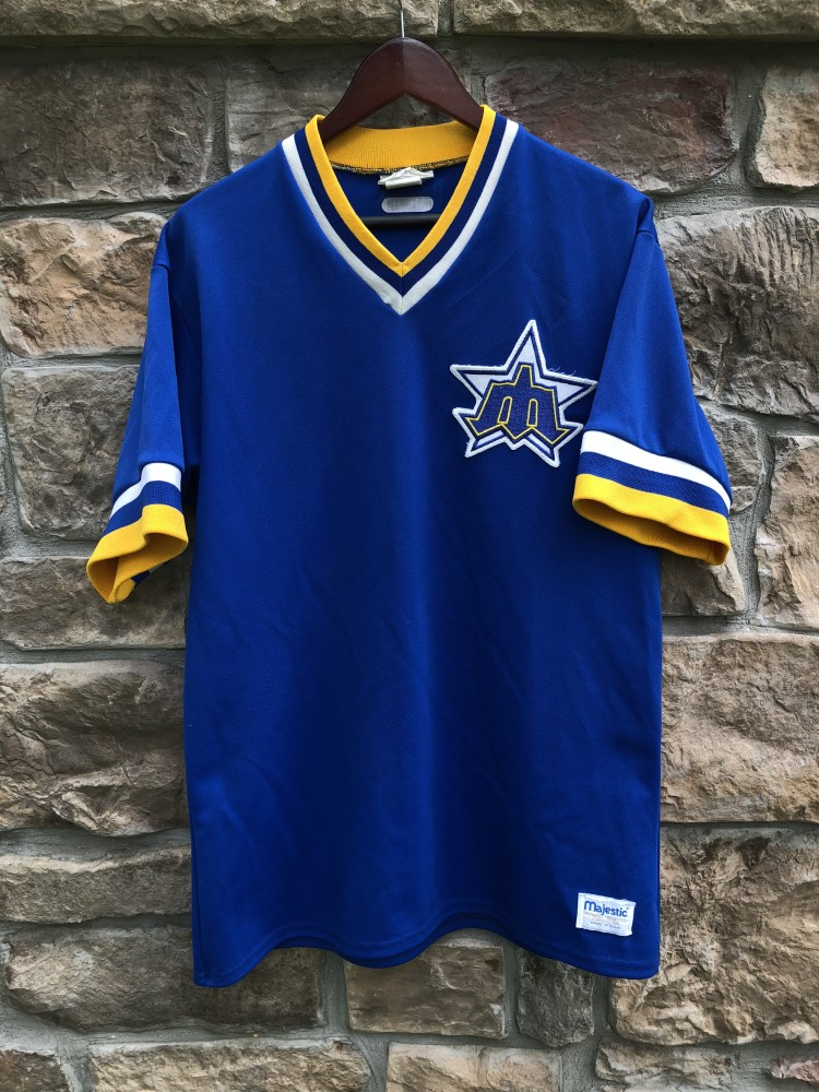 size 40 a2bf3 bb2bb 80's Seattle Mariners Game Worn Authentic Majestic MLB Jersey Size Large